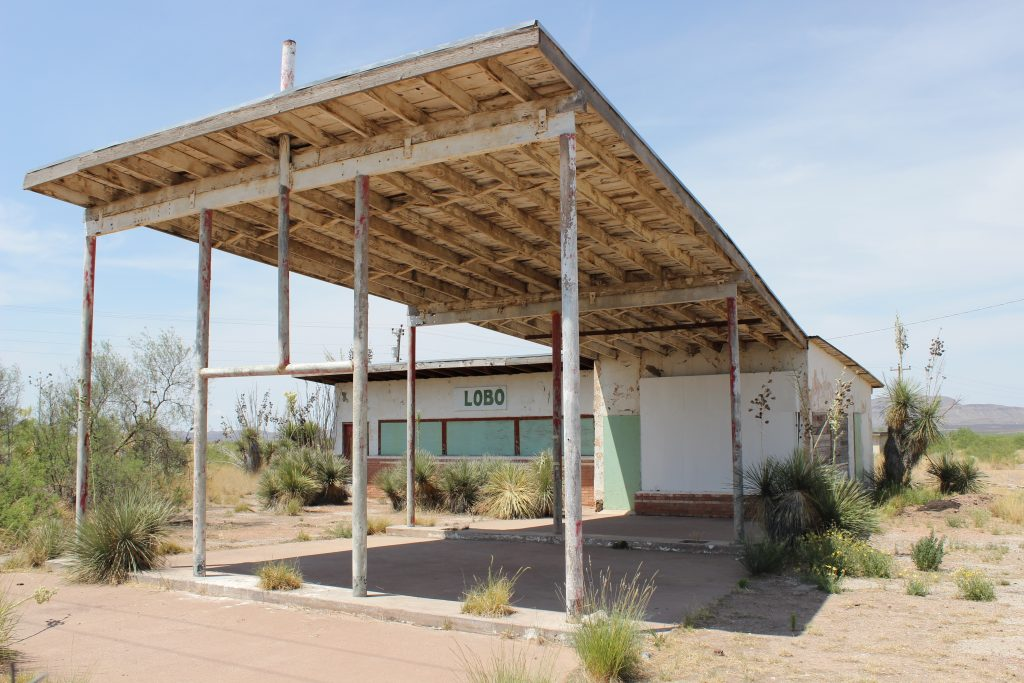 abandoned gas station in lobo texas, one of the ghost towns in texas