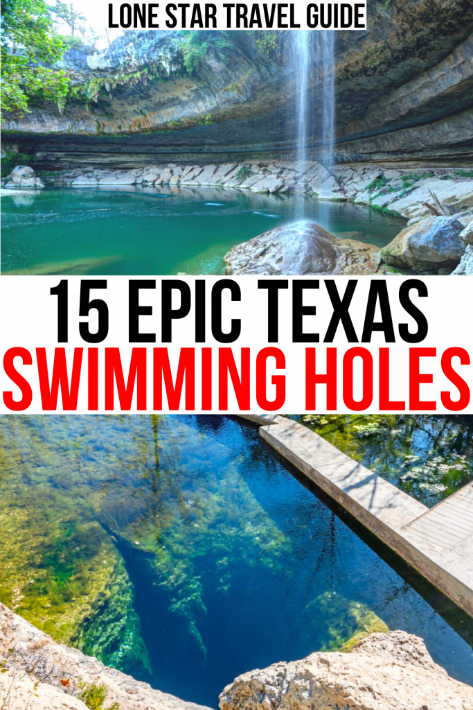"""2 photos of places to swim in texas, hamilton pool and jacobs well. black and red text on a white background reads """"15 epic texas swimming holes"""""""