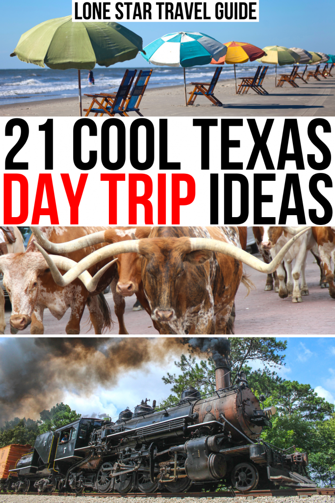 """3 photos of texas: galveston beach, longhorns, texas state railroad. black and red text on a white background reads """"21 cool texas day trip ideas"""""""