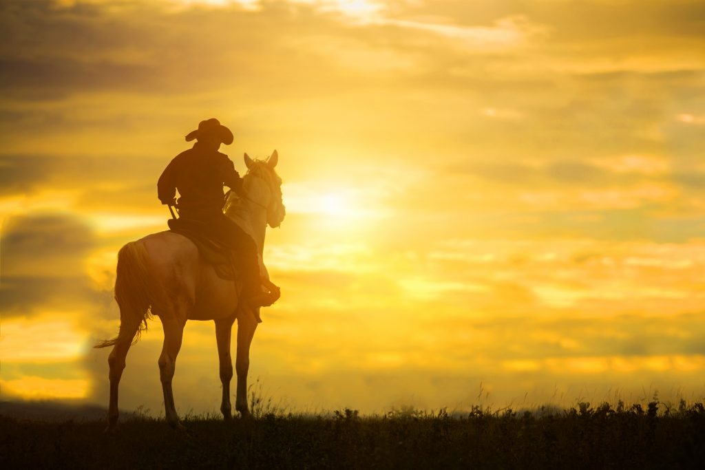 cowboy on a horse looking into the sunset
