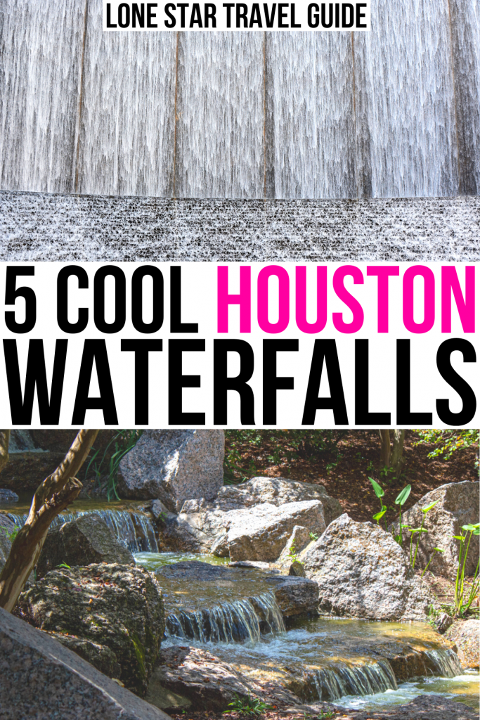 """2 waterfall photos: waterwall and japanese garden. black and pink text on a white background reads """"5 cool houston waterfalls"""""""
