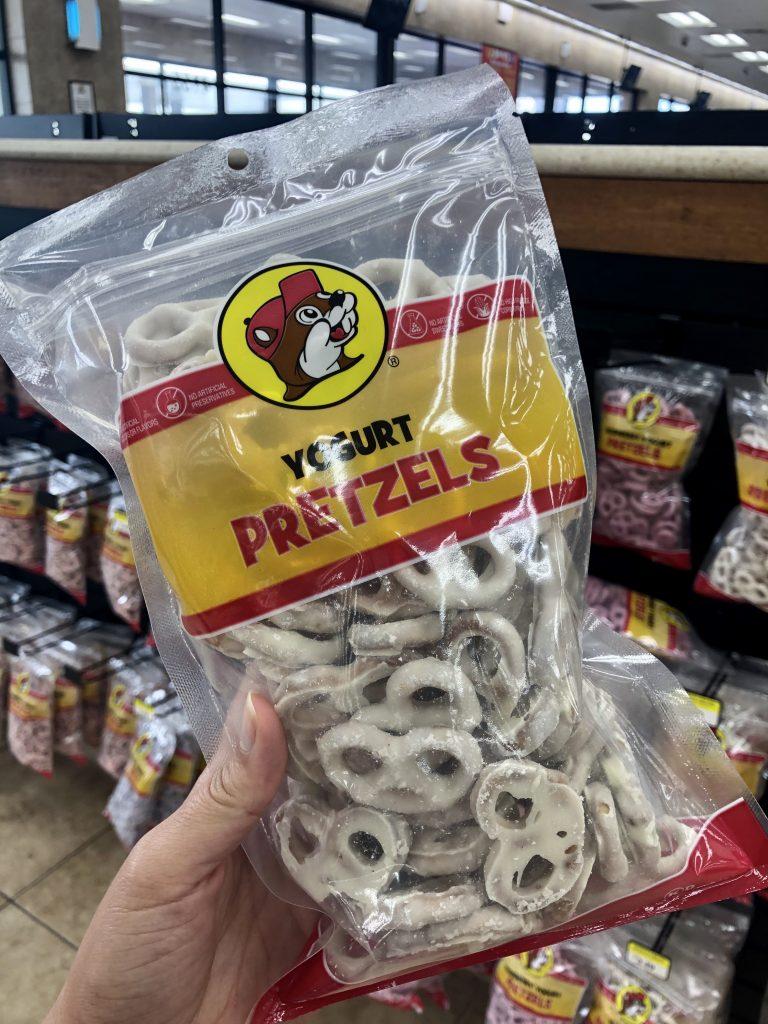 bucees yogurt pretzels being held in front of camera