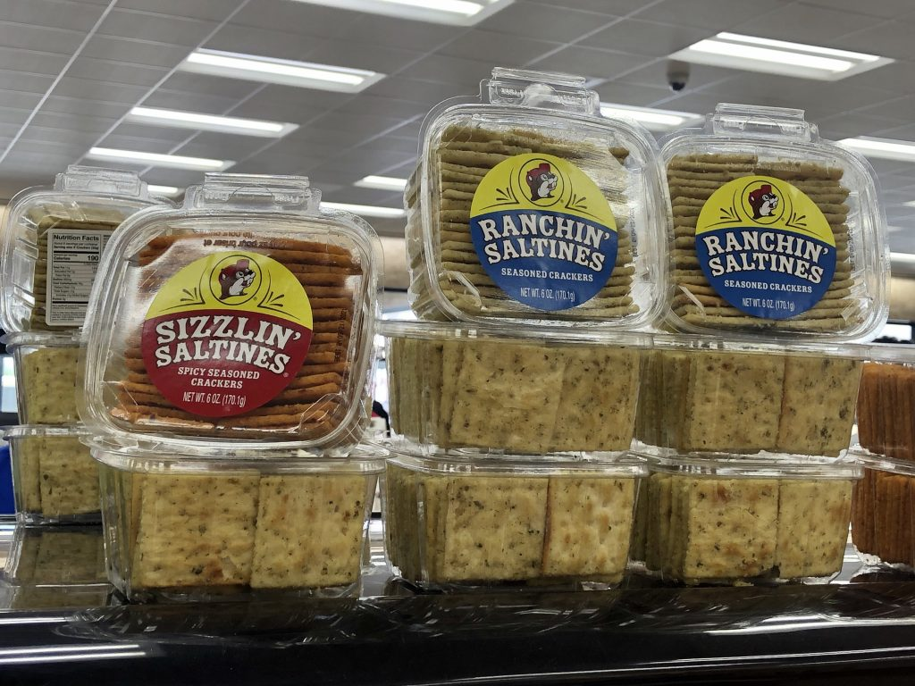 sizzlin saltines and ranchin saltines in bucees snack foods to eat