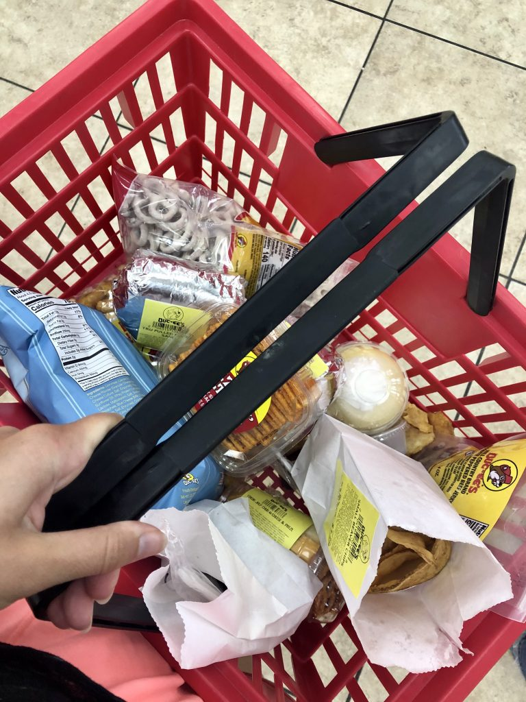 shopping basket full of food bucees