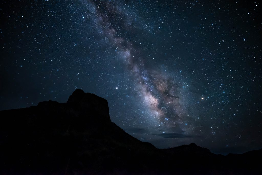 night sky with milky way in texas big bend country