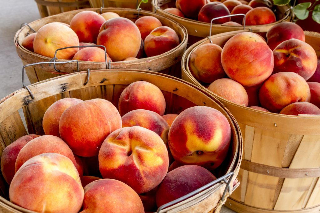 baskets of fresh peaches at one of the best peach farms in texas