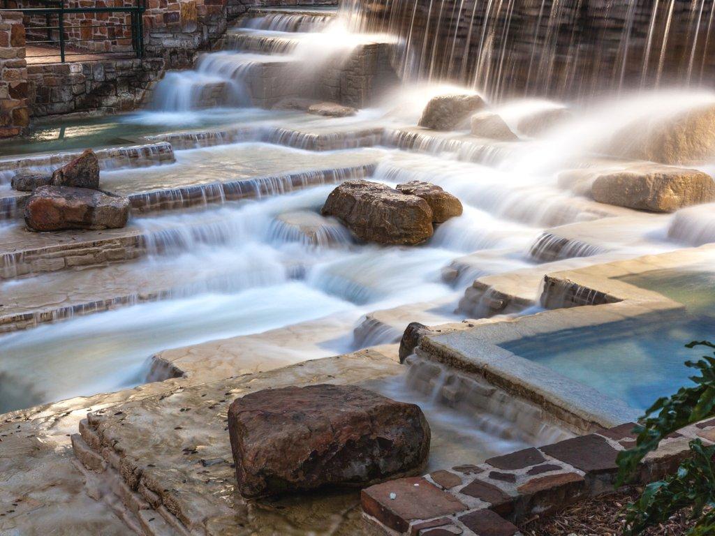 long exposure of hemisfair park water feature, one of the prettiest san antonio waterfalls