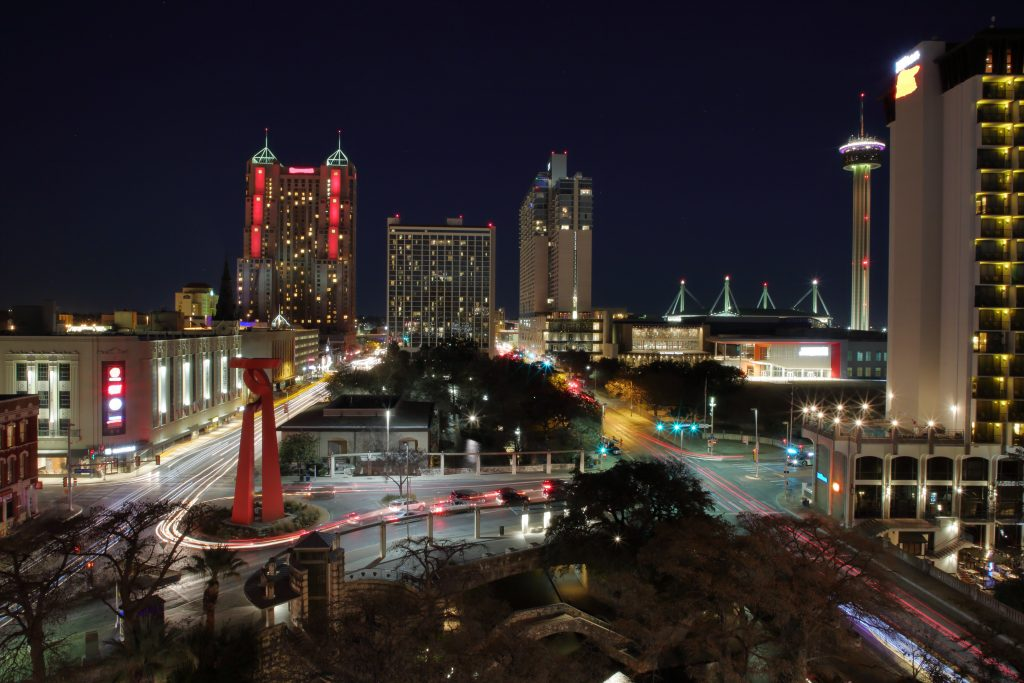 view of downtown san antonio skyline from above at night