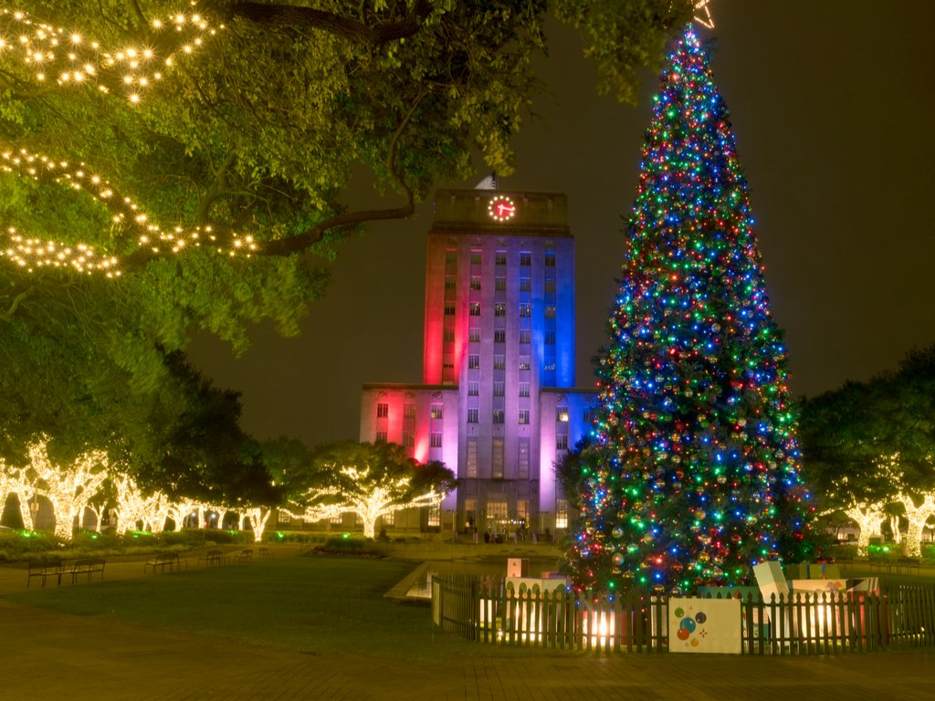 houston christmas tree downtown by city hall at night