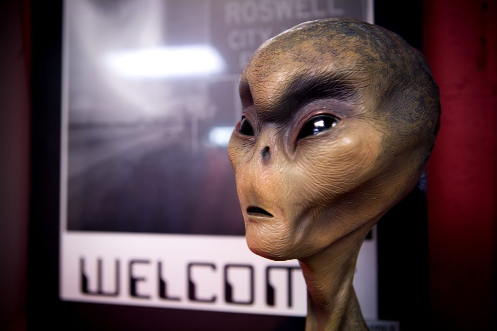 model of an alien in a museum in roswell new mexico