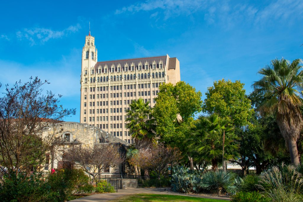 facade of the emily morgan hotel, one of the most haunted hotels in san antonio texas
