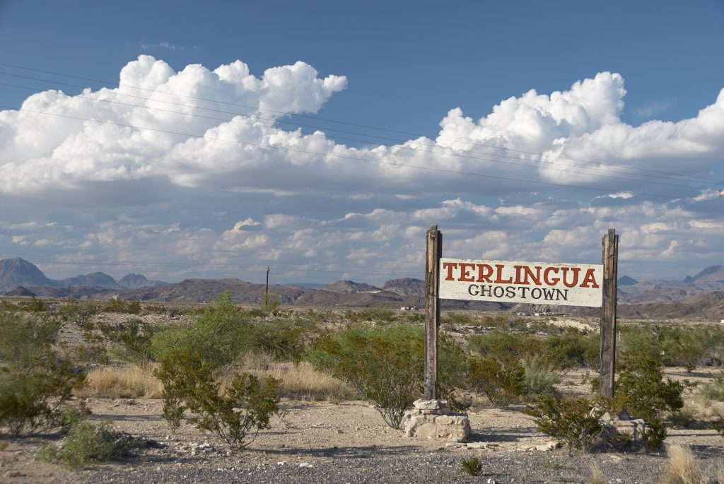 sign noting entrance to terlingua ghost town