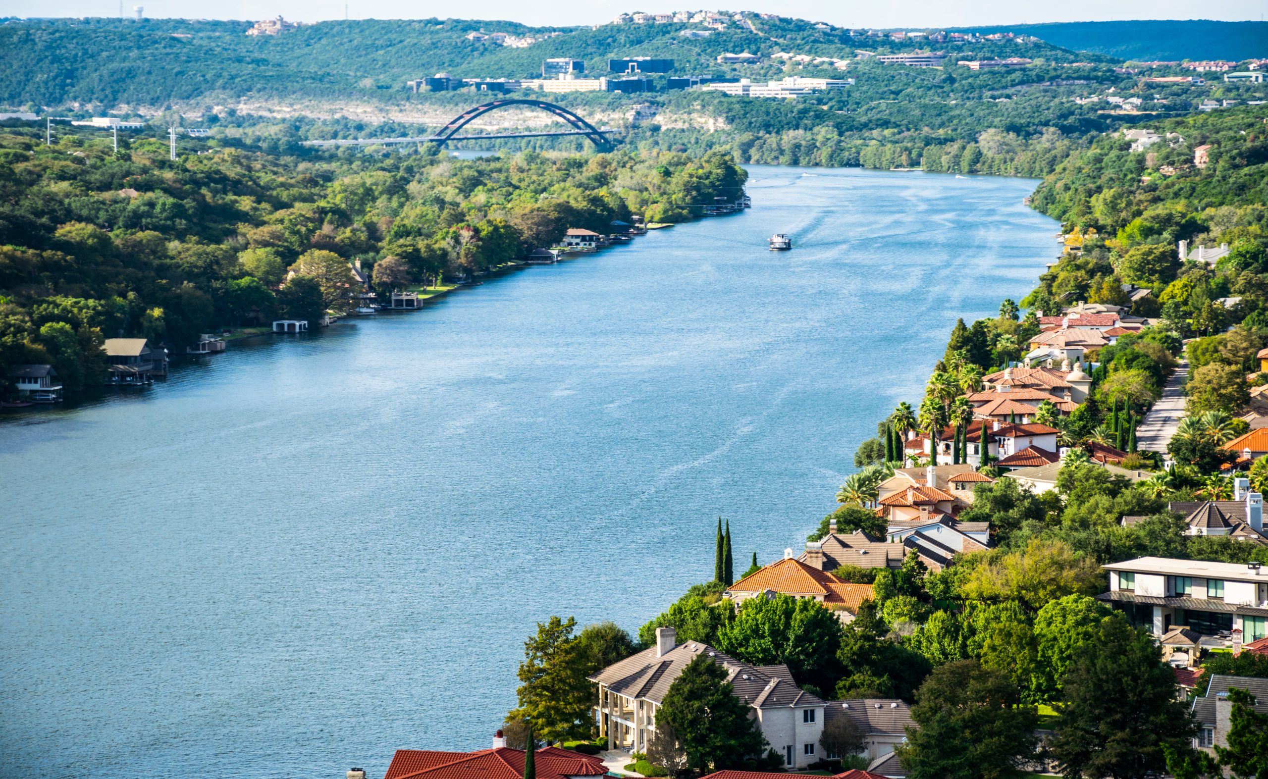 view of lake austin from above, one of the best lakes in austin texas