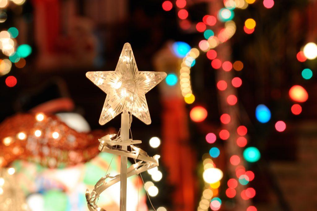 close up of a christmas lights houston display