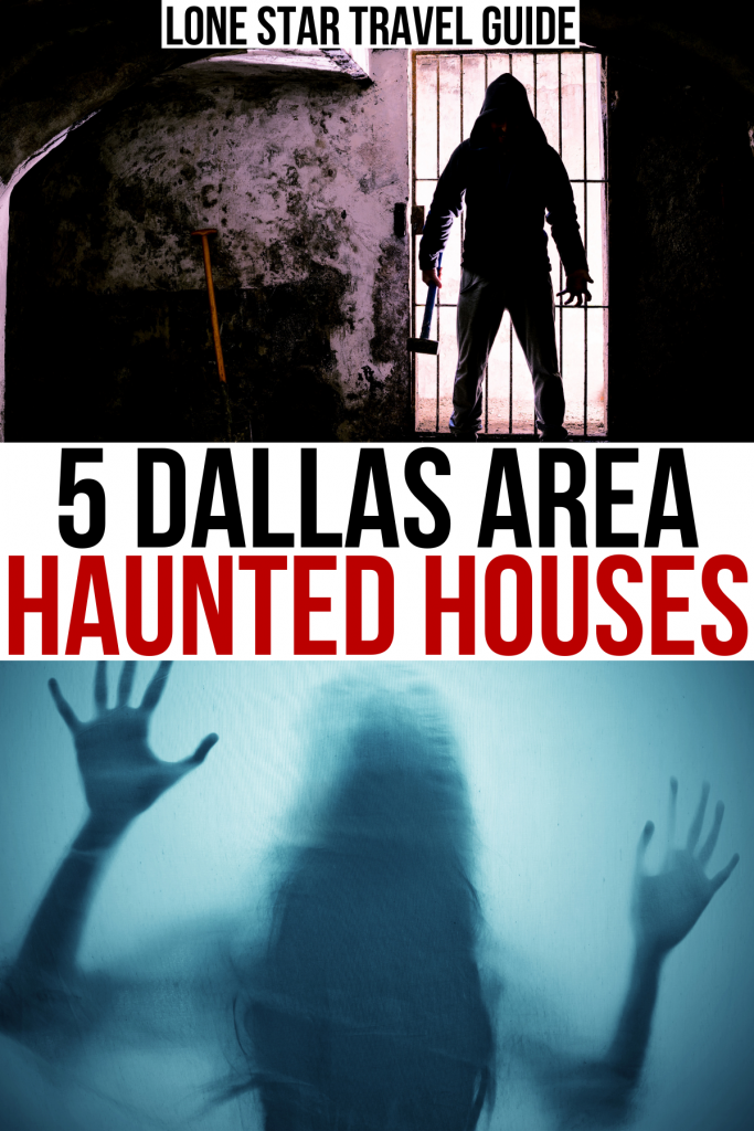 """2 photos of haunted houses in dfw, black and red text on a white background reads """"6 dallas area haunted houses"""""""