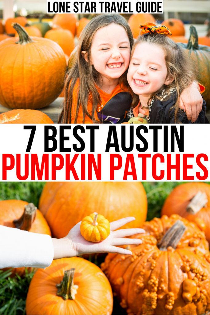 """2 photos of pumpkin patches near austin tx, one with 2 young girls smiling. black and red text on a white background reads """"7 best austin pumpkin patches"""""""