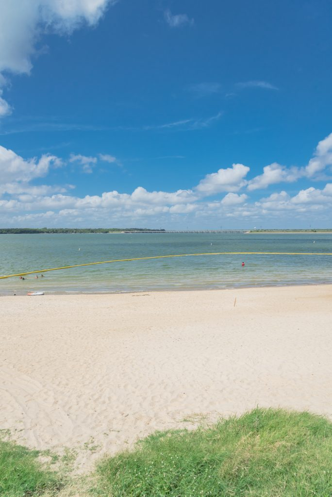 sandy beach at lynn creek state park, home of one of the best lakes near dallas texas