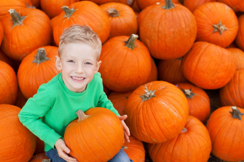 young boy in a green shirt posing with a pile of pumpkins, pumpkin farms near dallas tx