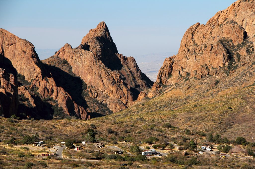 chisos basin campground as seen from above, one of the best rv campgrounds big bend national park