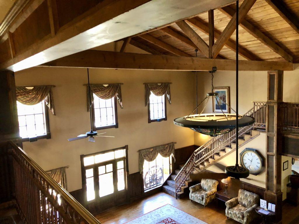 interior of historic hotel lobby in lajitas texas