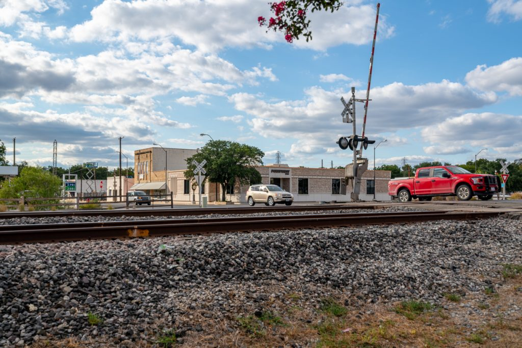 historic train tracks in town of west tx