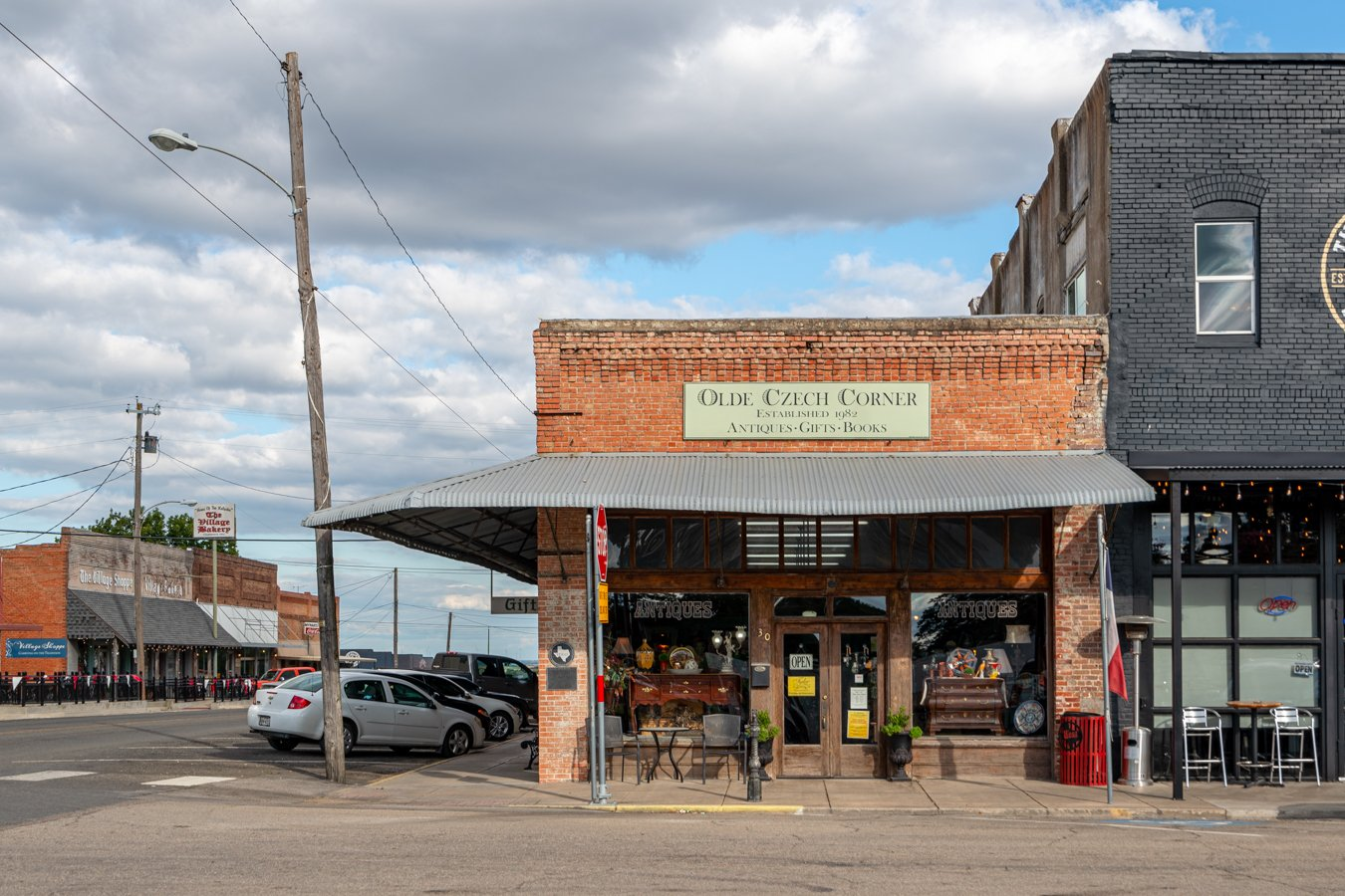 front facade of czech texas store in west texas, one of the czech towns in texas