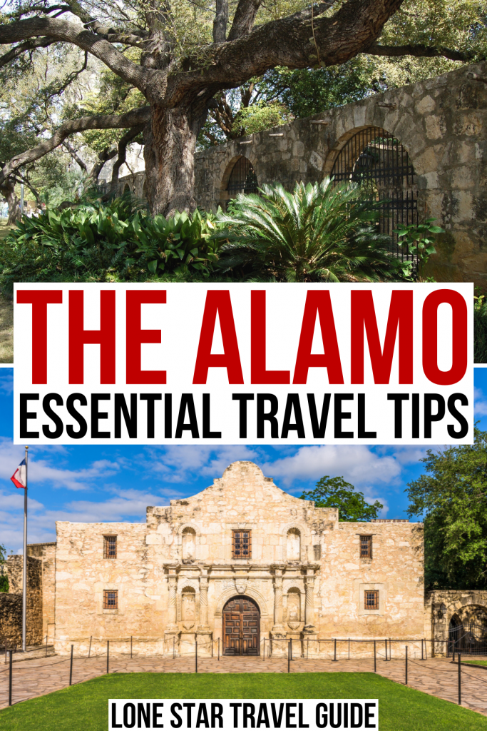 """photo of the front facade of the alamo texas, red and black text on a white background reads """"the alamo travel tips"""""""