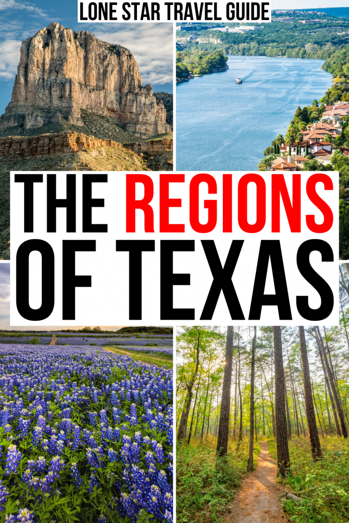 """4 photos of texas regions including mountains hill country pine woods, black and red text on a white background reads """"the regions of texas"""""""