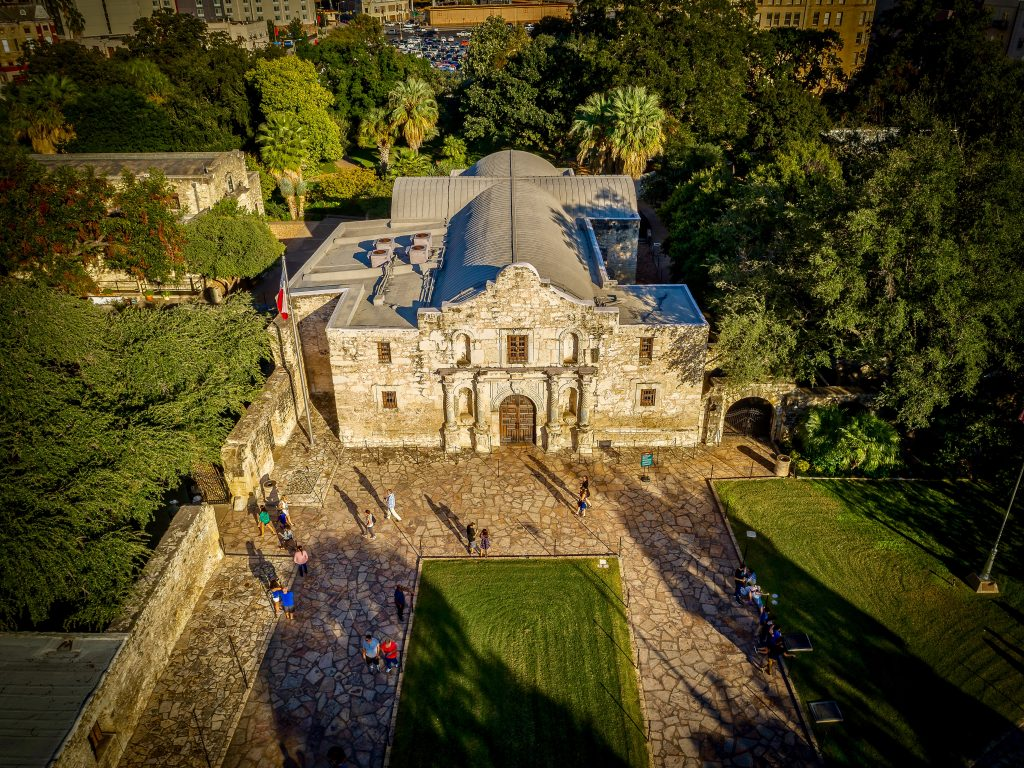 aerial view of visiting the alamo texas