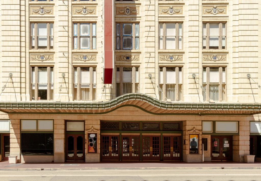 front facade of the majestic theater, one of the most haunted places in dallas texas