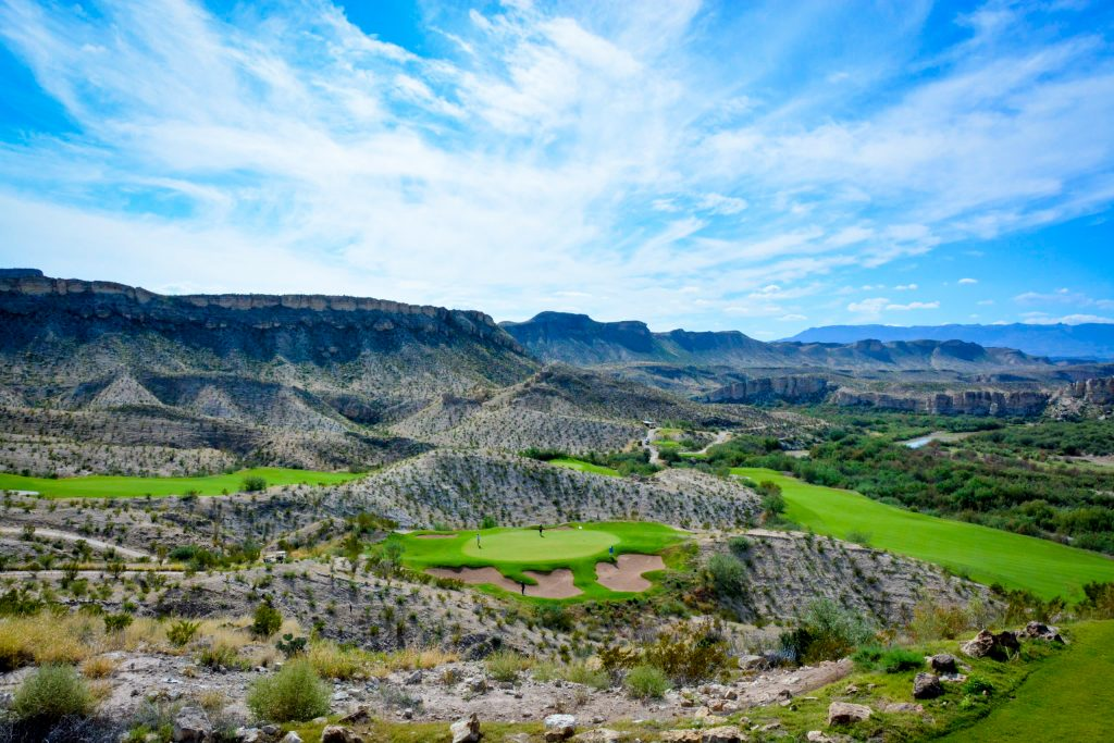 view of lajitas golf course from above, one of the best things to do in lajitas tx