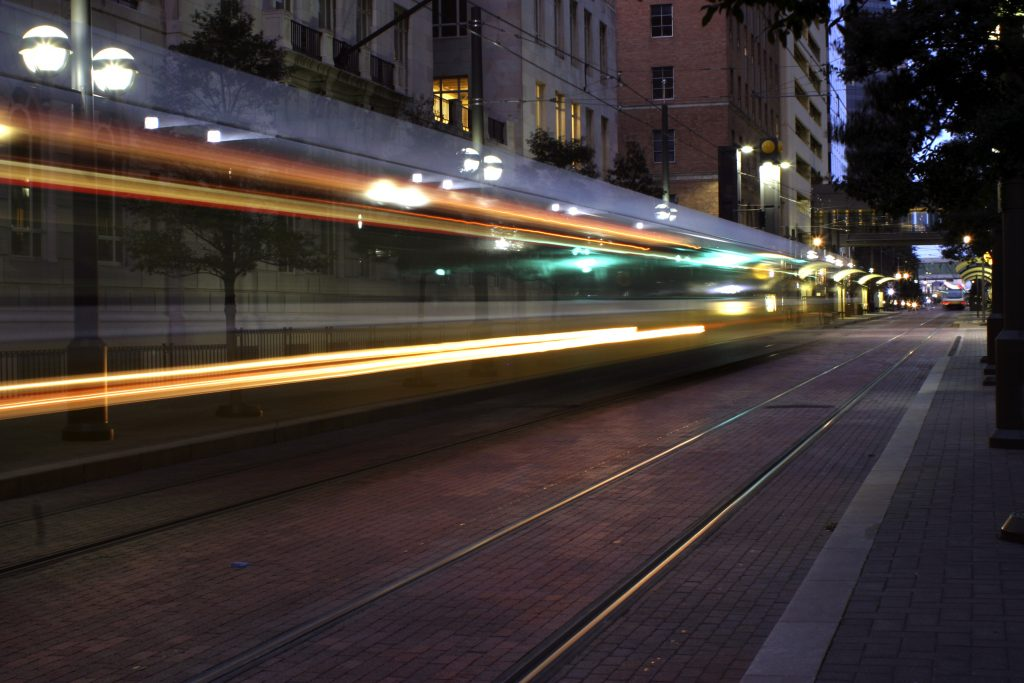 view of the dart moving fast in dallas at night