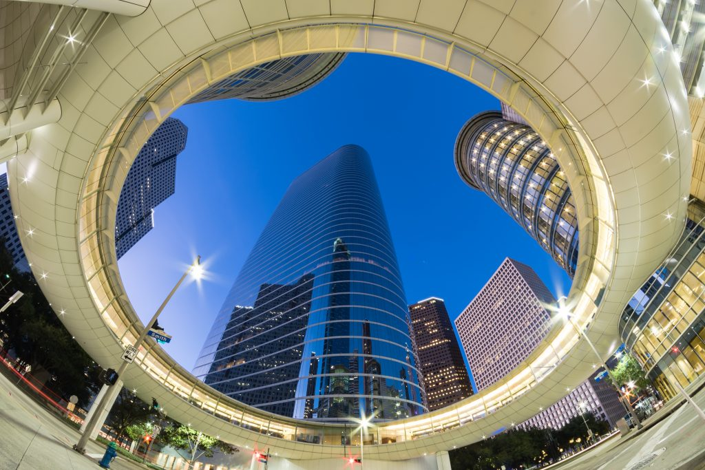 view of houston skyscrapers looking up at night, best sayings about houston quotes