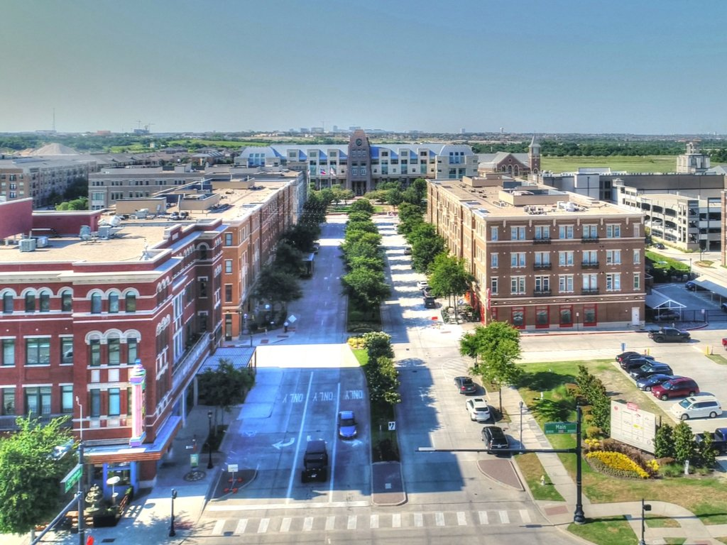 aerial view of downtown frisco texas