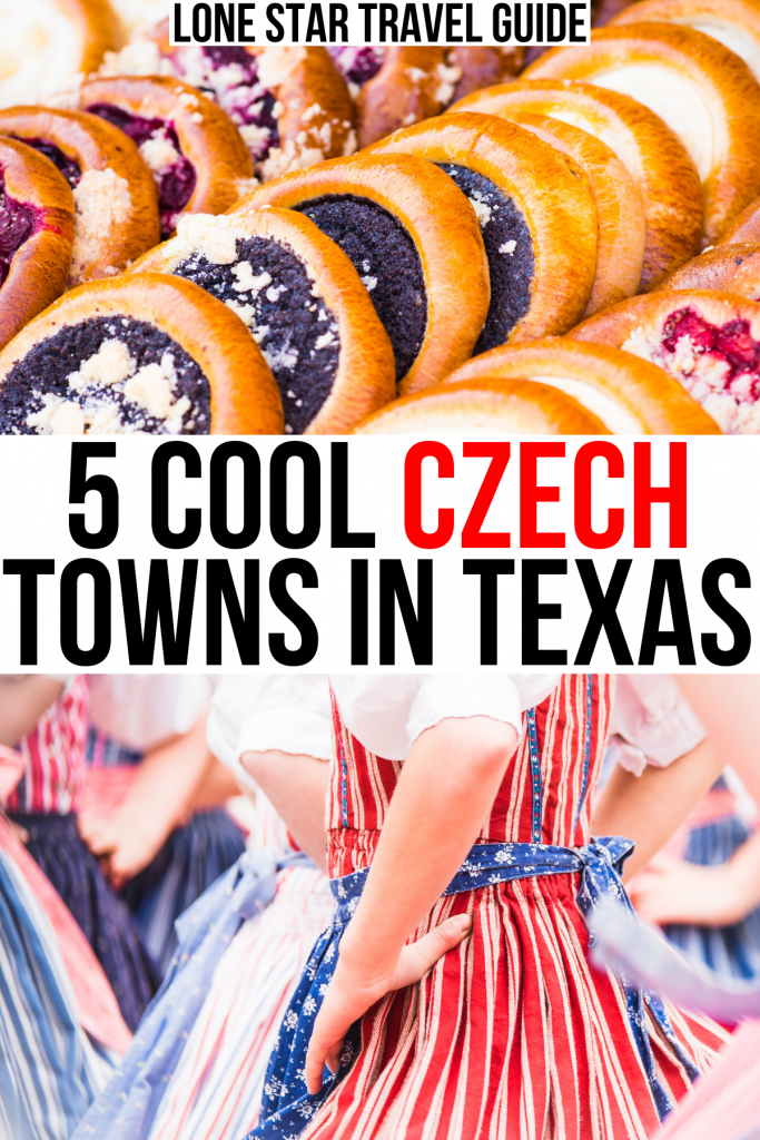"""photo of kolaches and polka dancers at a festival, black and red text on a white background reads """"5 cool czech towns in texas"""""""