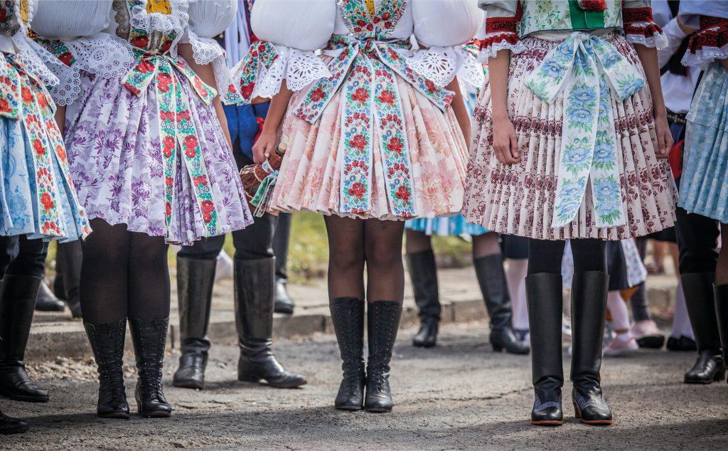 women dressed in periof moravian clothing czech festival